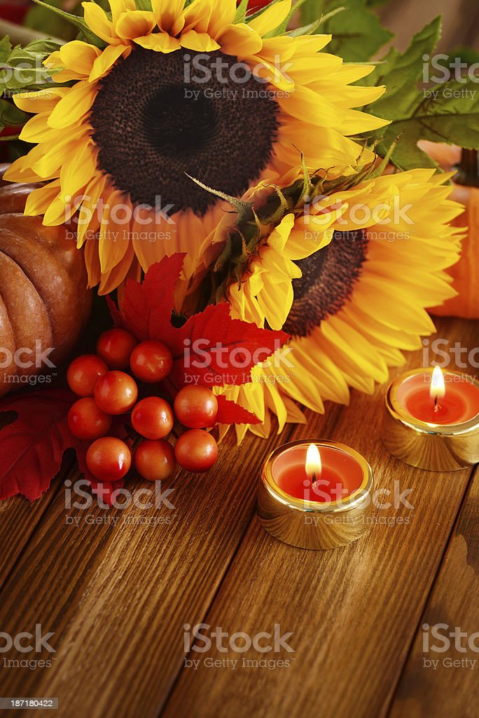 Autumn decoration with sunflowers, maple leaves and pumpkins royalty-free stock photo