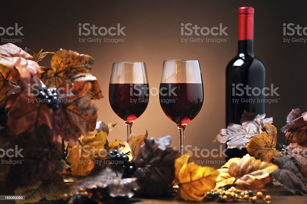 Autumn decoration with wine royalty-free stock photo
