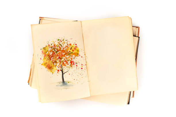 Autumn design template. An open botanical journal with a watercolour drawing of a fall tree. A book on nature studies mock-up, shot from above on a white background with copy space stock photo