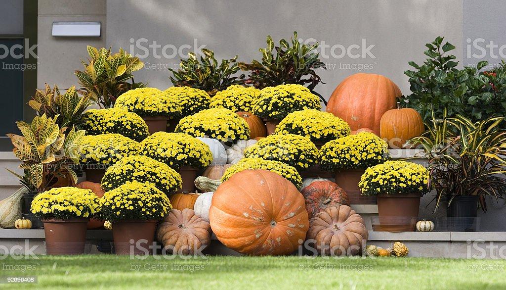 Autumn Display On The Front Porch - Landscape Orientation stock photo