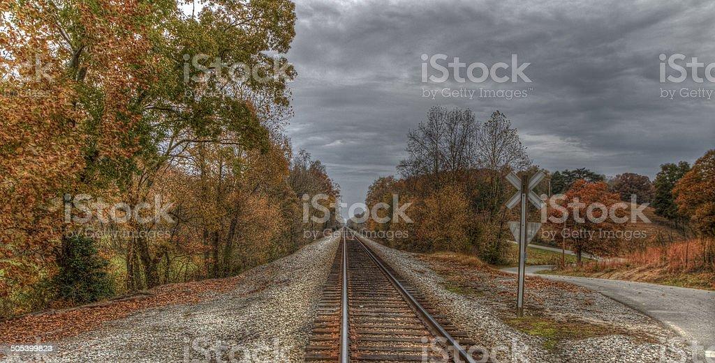 Autumn Down The Tracks stock photo
