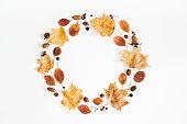 秋の乾燥葉、果実、ドングリ。フラット横たわっていた、トップ ビュー