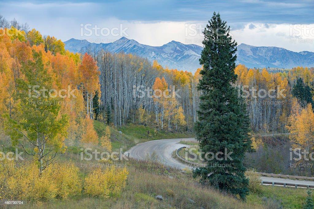 Autumn Evening at Kebler Pass stock photo