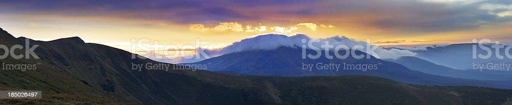 Autumn evening mountain plateau landscape (Carpathian, Ukraine) royalty-free stock photo