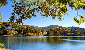 The autumn in Big bear mountains have eyes of selecting scene at the lake beach in Arrowhead.