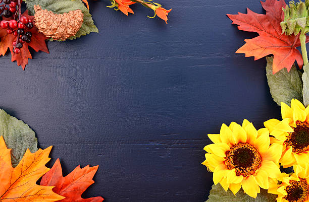 Autumn Fall Background with Decorated Borders. stock photo