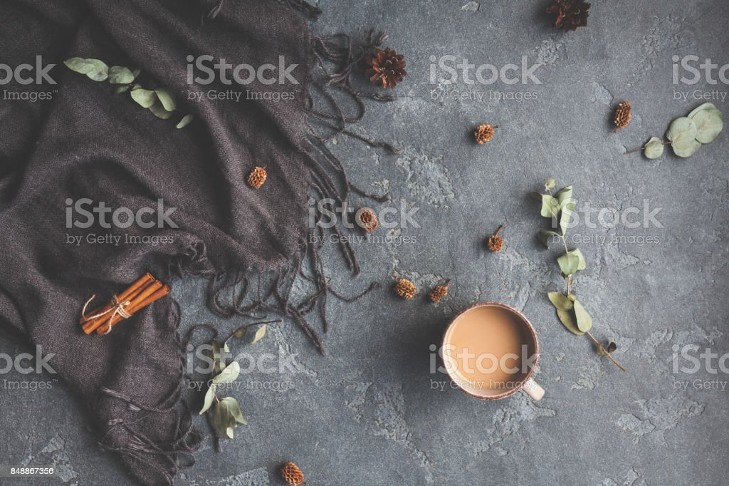 Autumn Fall composition on black background. Flat lay, top view stock photo