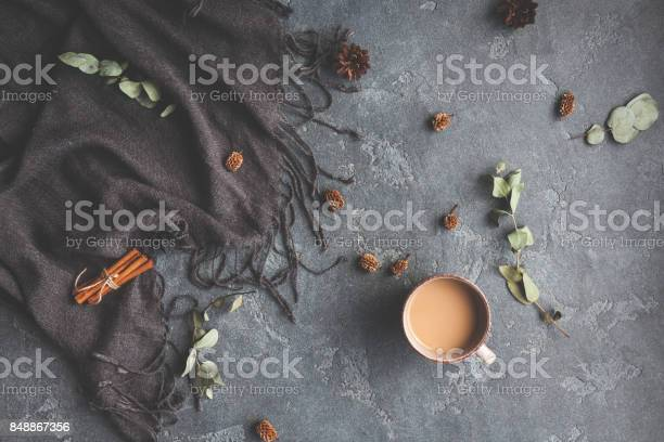 Photo of Autumn Fall composition on black background. Flat lay, top view