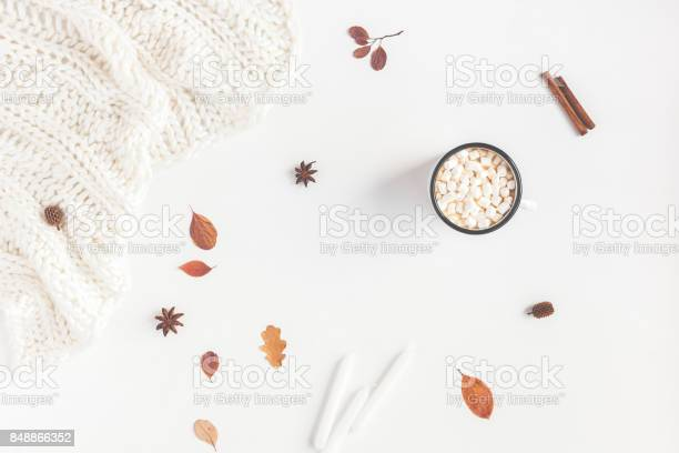 Photo of Autumn Fall composition on white background. Flat lay, top view