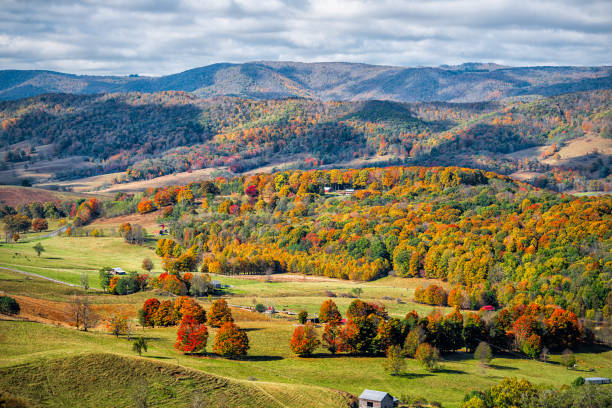 Autumn fall orange red colorful trees forest and farm houses buildings on rolling hills aerial above high angle view landscape in Monterey and Blue Grass, Highland County, Virginia stock photo
