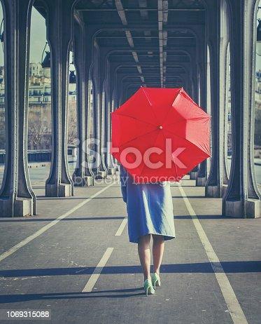 autumn fashion woman walking with red umbrella, fall season in the city