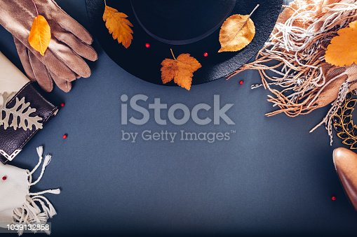840310962istockphoto Autumn female outfit. Set of clothes, shoes and accessories. Copy space. Shopping concept 1039132858