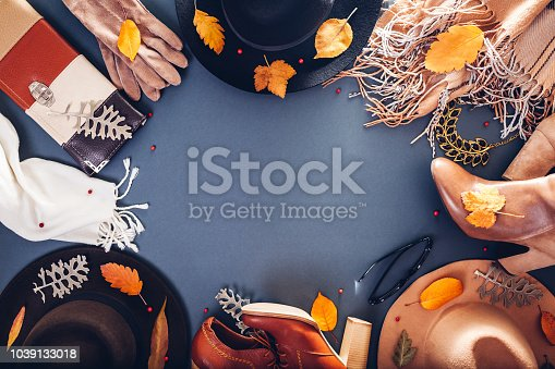 840310962istockphoto Autumn female outfit. Set of clothes, shoes and accessories. Copy space. Shopping concept 1039133018