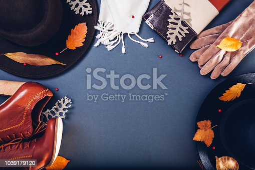 840310962istockphoto Autumn female outfit. Set of clothes, shoes and accessories. Copy space. Shopping concept 1039179120