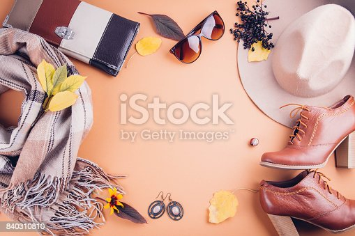 840310962istockphoto Autumn female outfit. Set of clothes, shoes and accessories 840310810