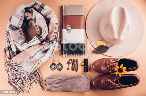 840310962istockphoto Autumn female outfit. Set of clothes, shoes and accessories 840310836