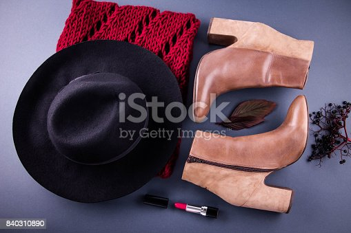 840310962istockphoto Autumn female outfit. Set of clothes, shoes and accessories 840310890