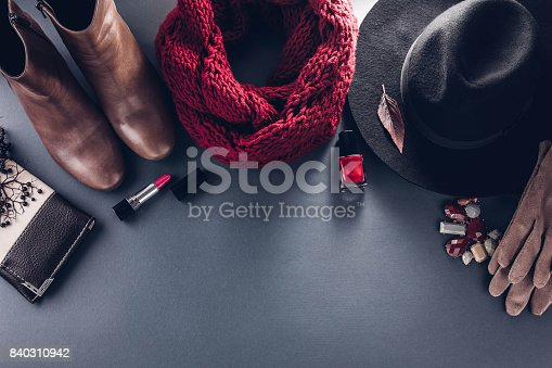 840310962istockphoto Autumn female outfit. Set of clothes, shoes and accessories 840310942
