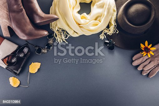 840310962istockphoto Autumn female outfit. Set of clothes, shoes and accessories 840310984