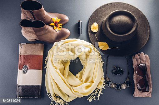 840310962istockphoto Autumn female outfit. Set of clothes, shoes and accessories 840311024
