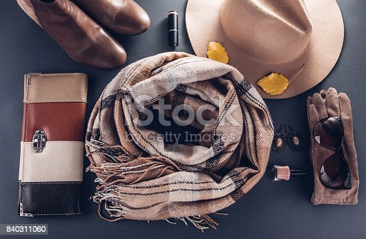 840310962istockphoto Autumn female outfit. Set of clothes, shoes and accessories 840311060