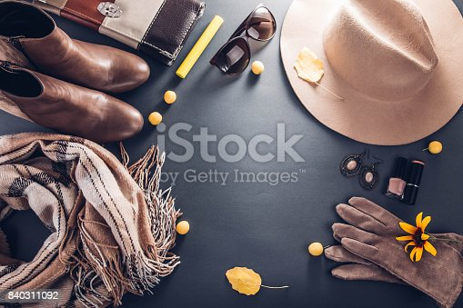 840310962istockphoto Autumn female outfit. Set of clothes, shoes and accessories 840311092