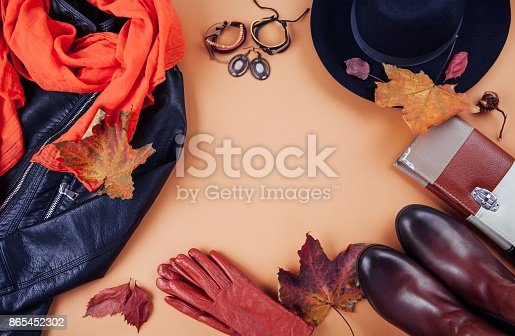 840310962istockphoto Autumn female outfit. Set of clothes, shoes and accessories 865452302