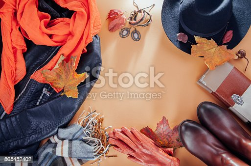 840310962istockphoto Autumn female outfit. Set of clothes, shoes and accessories 865452402