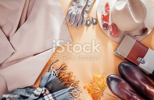 840310962istockphoto Autumn female outfit. Set of clothes, shoes and accessories 865452462