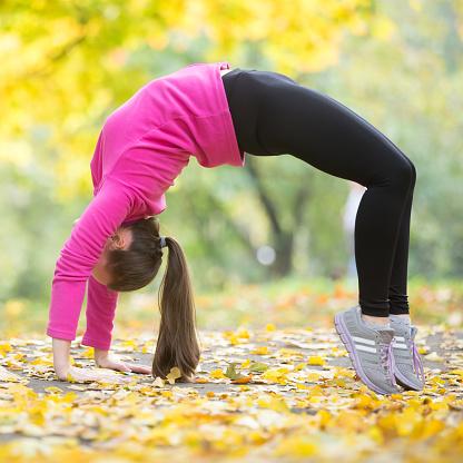 autumn fitness bridge pose stock photo  download image