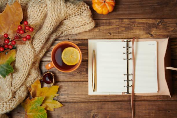 autumn flat lay on wooden planks stock photo