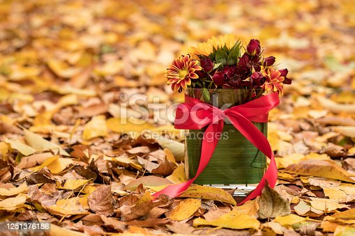 Beautiful Floral Arrangement in Vase Among Fall Leaves