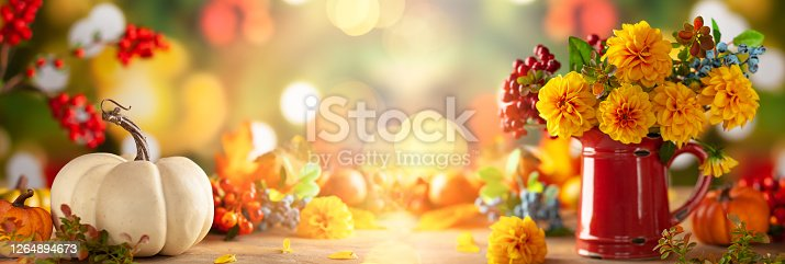Autumn floral still life with beautiful yellow dahlia in vintage red jug and pumpkins on the table. Autumnal festive concept.
