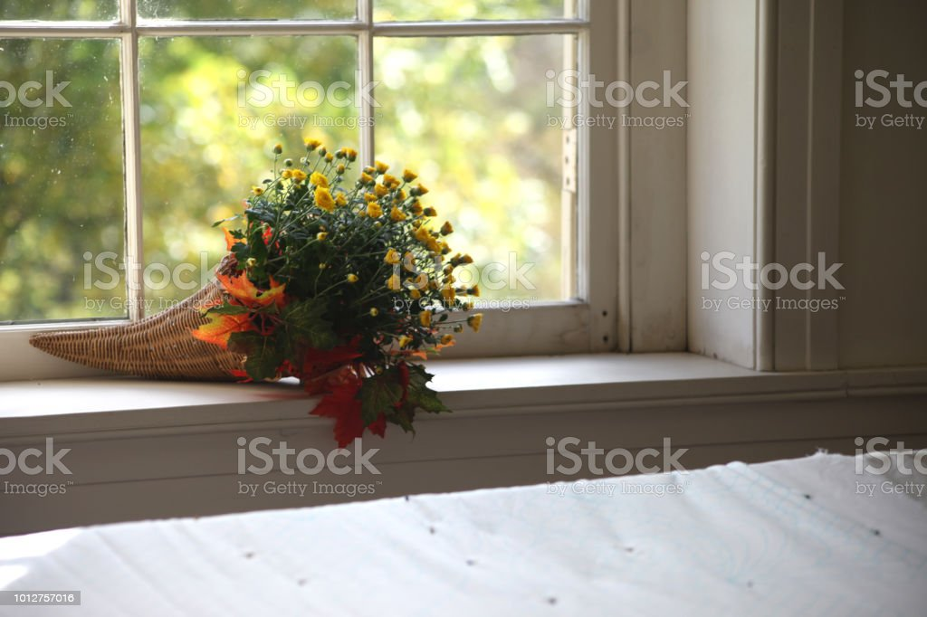 Autumn flower bouquet on interior window sill stock photo