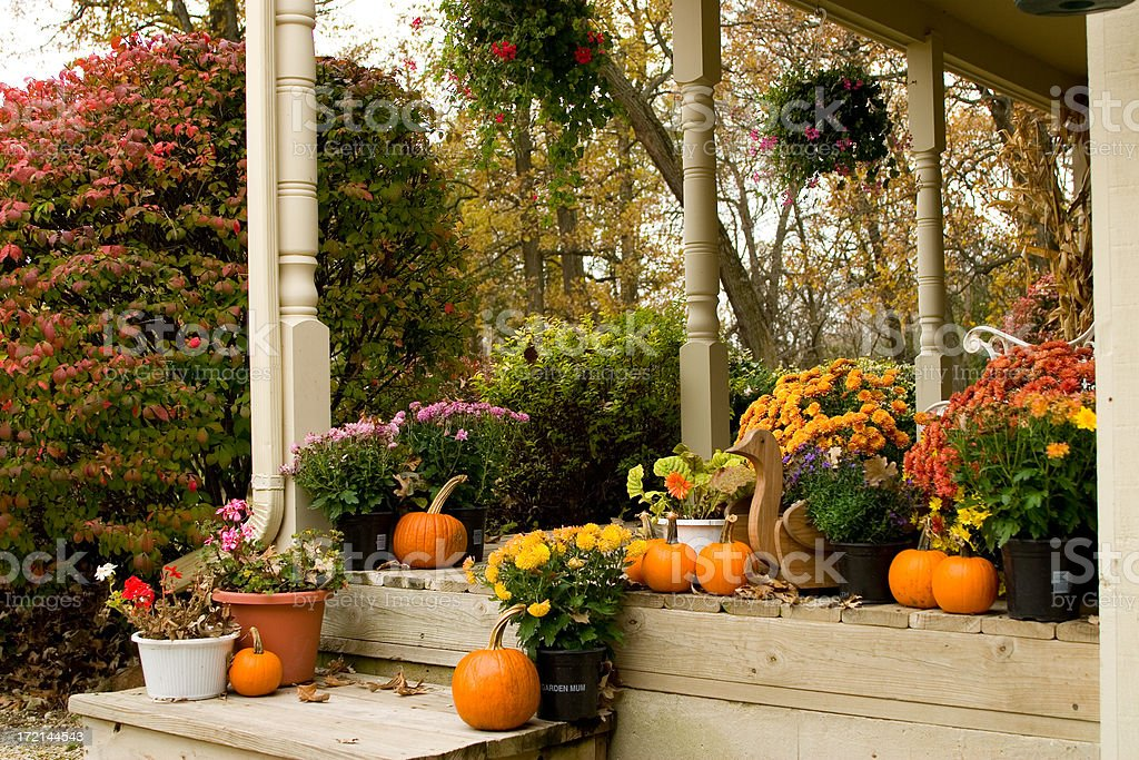 Autumn Flowered Porch royalty-free stock photo
