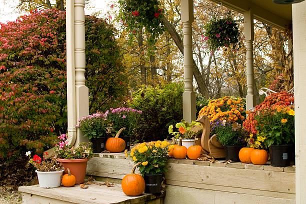 Autumn Flowered Porch stock photo