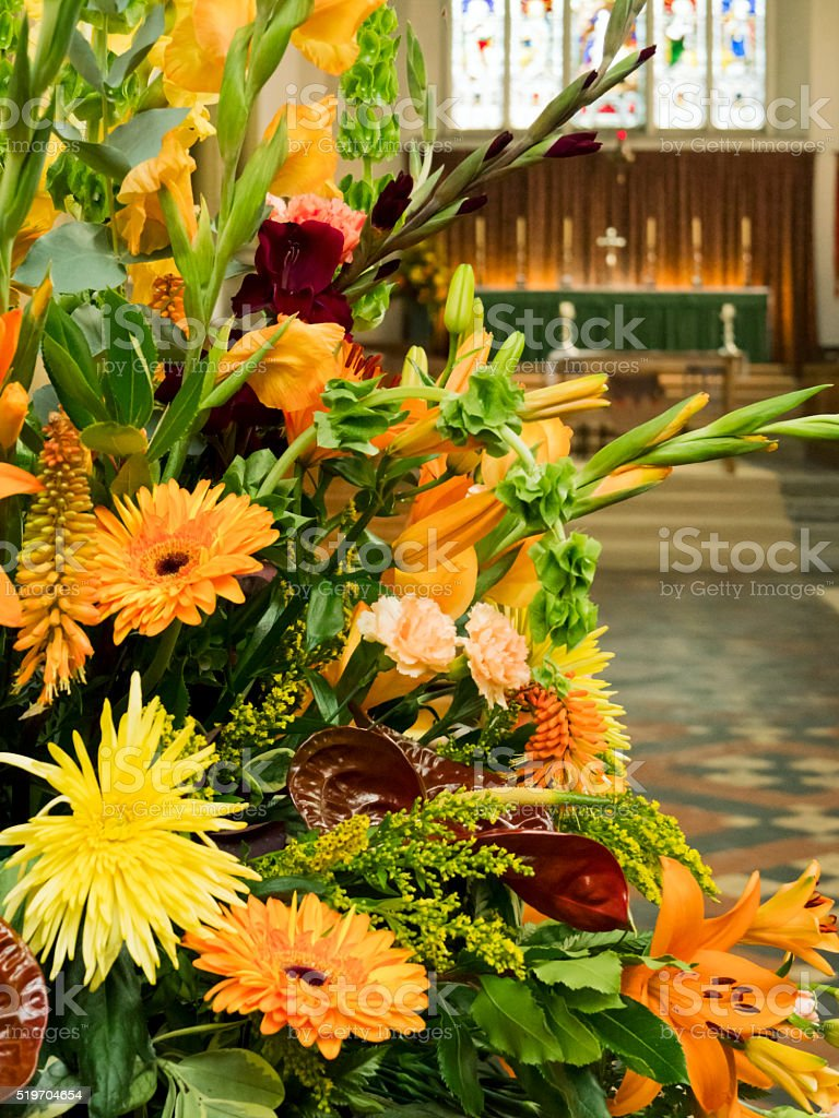Autumn Flowers Inside A Church Stock Photo Download Image Now Istock