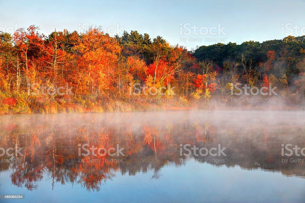 Autumn Fog in Boston's West Roxbury Neighborhood stock photo