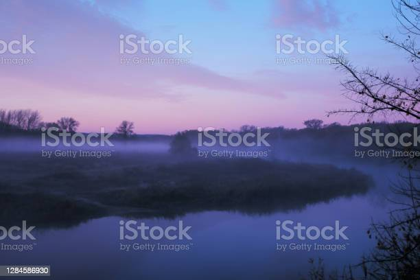 Photo of Autumn fog in the early morning over the river