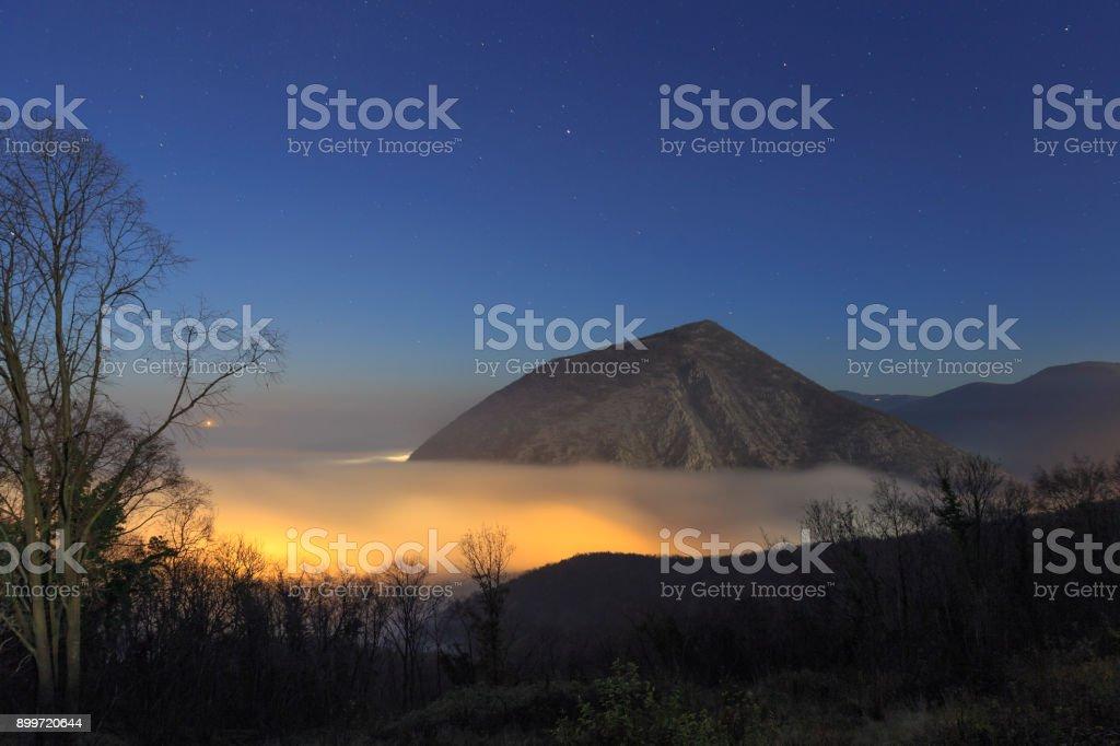 Autumn Fog Landscape stock photo