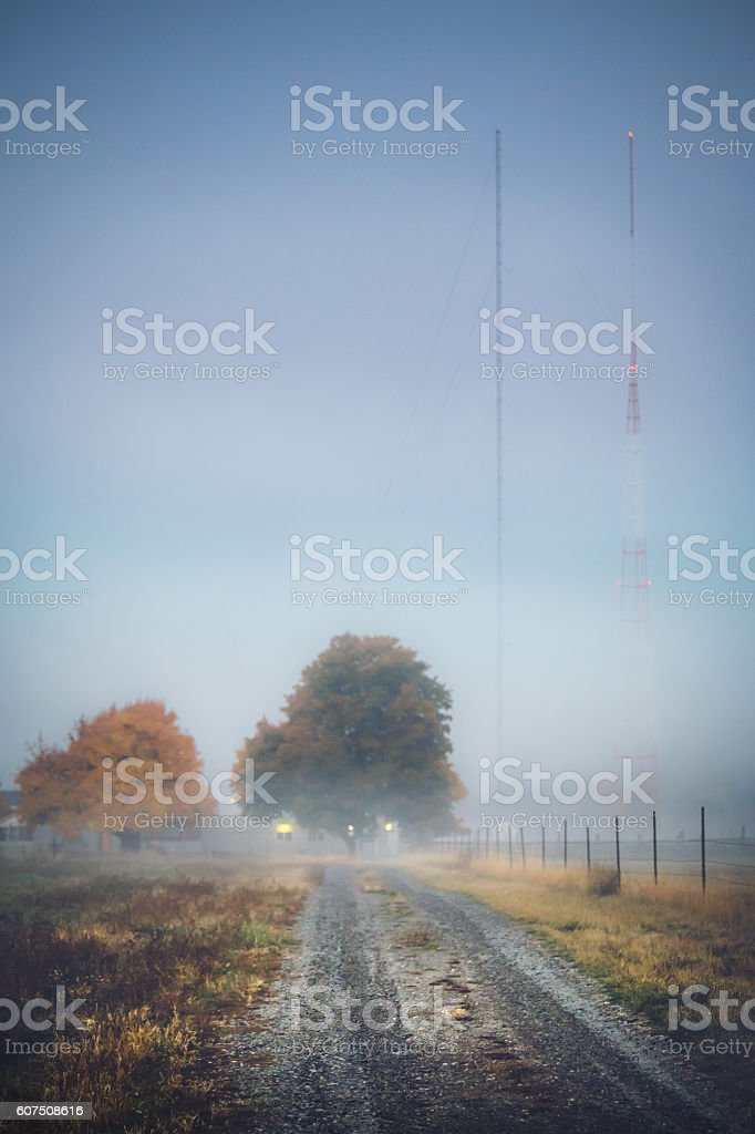 Autumn fogs in rural Washington stock photo
