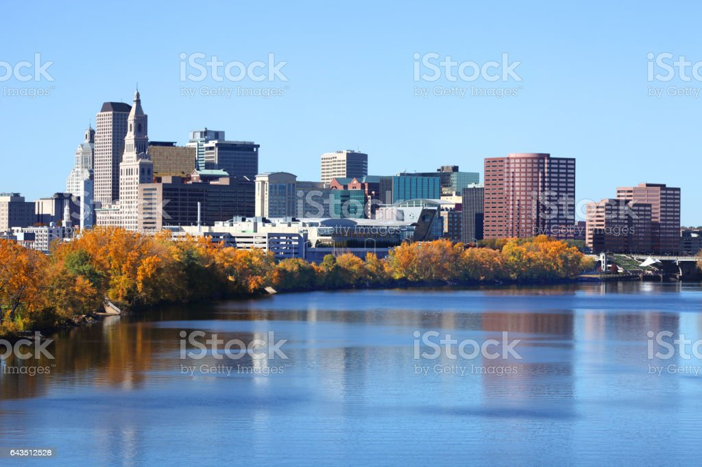 Autumn foliage along the Connecticut River in Hartford stock photo