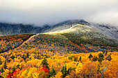 Autumn foliage and snow on the slopes of Mount Washington