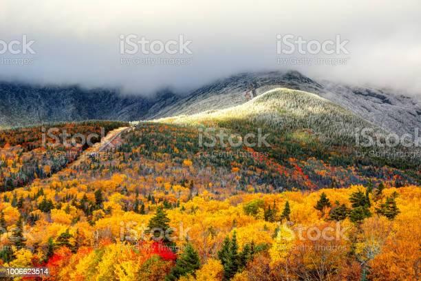 Photo of Autumn foliage and snow on the slopes of Mount Washington