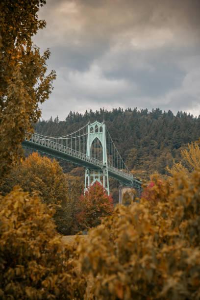 Autumn foliage and the St Johns Bridge, Portland Oregon stock photo