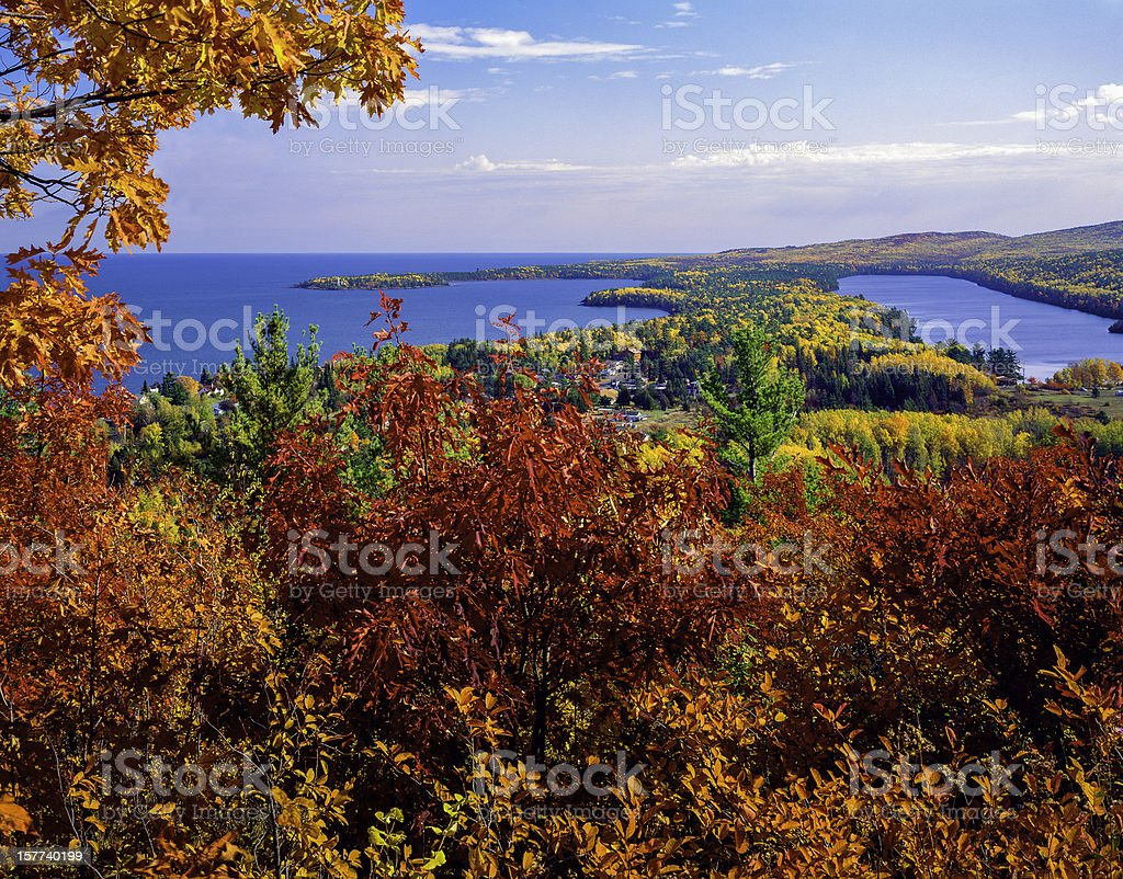 autumn foliage color at Copper Harbor Michigan, overlooking Lake Superior stock photo
