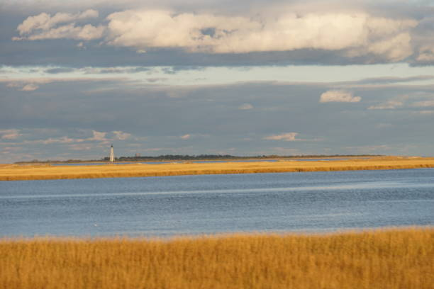 Autumn Foliage Colors Virginia Cape Charles Lighthouse stock photo