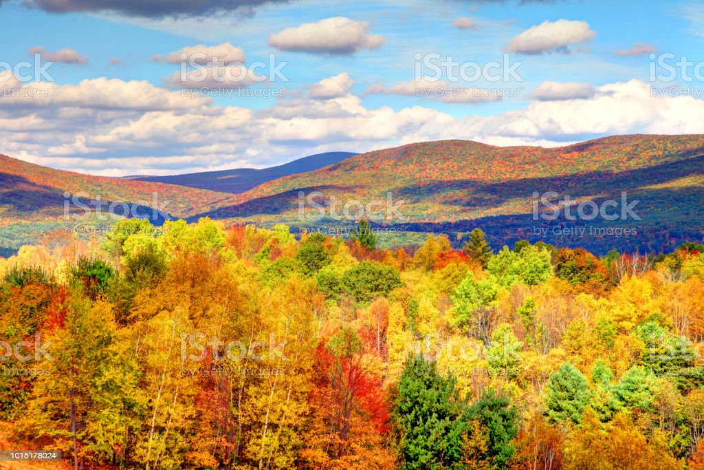 Autumn foliage in the Berkshires region of Massachusetts stock photo