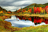 Peak fall foliage in the White Mountains Region of New Hampshire