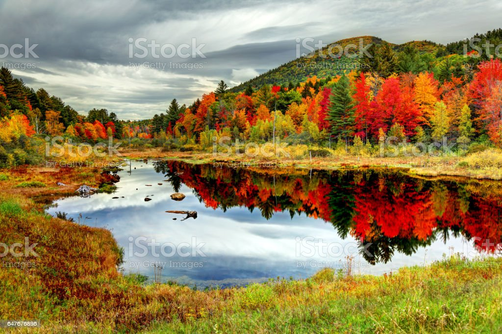 Autumn foliage in the White Mountains of New Hampshire stock photo